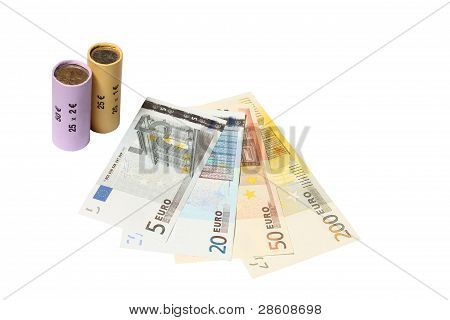 Packed Coin Roll With Bank Notes
