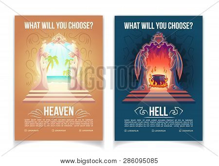 Religious Movement, Christianity Church Or Teaching Cartoon Vector Advertising Brochure, Booklet Pag