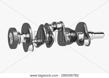 3d Rendering. Crankshaft For 6v Cylinders Engine. Truck Crankshaft On White Background. Engine Beari