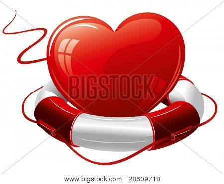 Heart in the lifebuoy. Concept image.