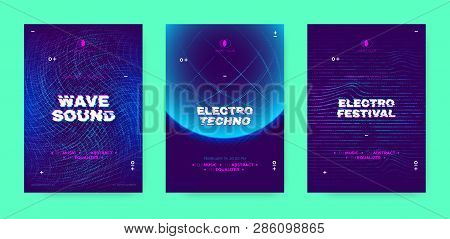 Electronic Sound Party Poster, Abstract Wave Distorted Lines. Music Flyer For Dj Event Promotion. Te