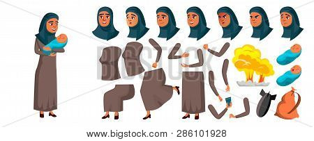 Arab, Muslim Teen Girl Vector. Animation Creation Set. Face Emotions, Gestures. Mother With Child. A