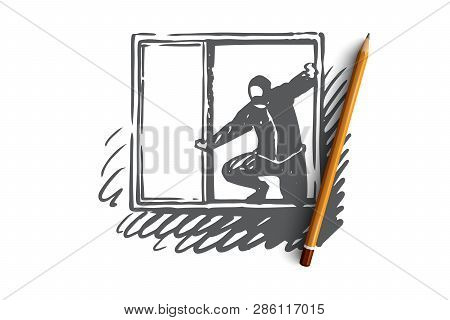 Burglary, Window, Robber, Criminal, Mask Concept. Hand Drawn Robber In-house Window Concept Sketch.