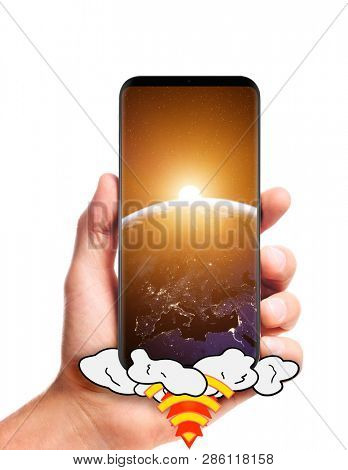 male hand hold launching smartphone with Sun rising over planet Earth on screen, isolated on white background. Elements of this image furnished by NASA