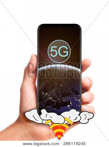 male hand hold launching 5G smartphone with planet Earth on screen, isolated on white background. Elements of this image furnished by NASA