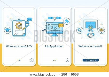 Job Searching Onboarding Mobile App Page Screen With Linear Concepts, Write Cv, Apply Job, Interview