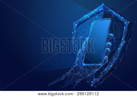 Abstract Smartphone In Hand With Shield In The Form Of A Starry Sky Or Space, Consisting Of Points,