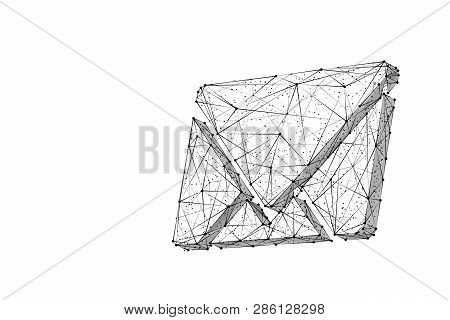 Email Symbol. Low Poly Wireframe Vector Illustration. Concept Of Postal Internet Service. Technology