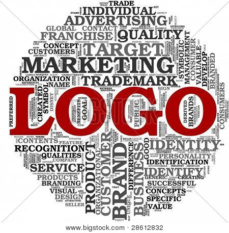 Logotipo e marca conceito relacionado na nuvem de Tags palavra sobre fundo branco
