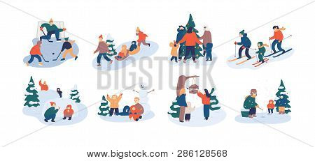 Set Of Family Winter Leisure Activities. Mother, Father And Child Having Fun Outdoors Together - Pla