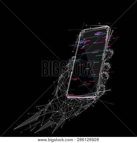 Phone In A Hand. Abstract Low-poly Wireframe Vector Technology Illustration. Device Screen And Arm P