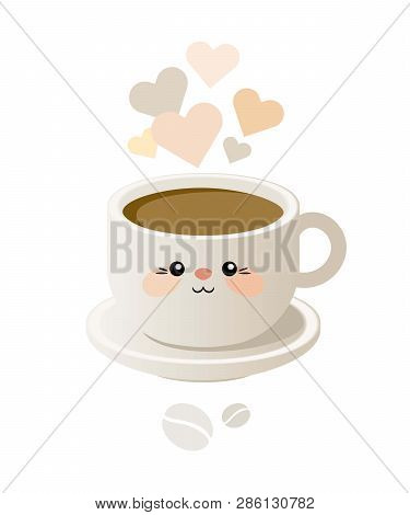 Cute Illustration With A Cup Of Coffee In Kavai Style. Vector. Eps 10