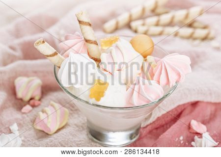 White Ice Cream Pink Vanilla Marshmallow Closeup. Gelato Ball Dessert In Glass Bowl Close-up Side Vi