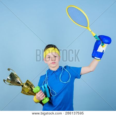 Success In Sport. Succeed In Everything. Athlete Successful Boy Sport Equipment Jump Rope Boxing Glo