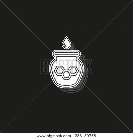 Illustration Of Drizzler And Honey With Glass Jar, Vector Honey Jar, Natural Dessert. White Flat Pic