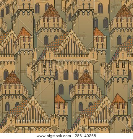 Medieval City Architecture. Seamless Pattern In A Style Of A Medieval Tapestry Or Illuminated Manusc