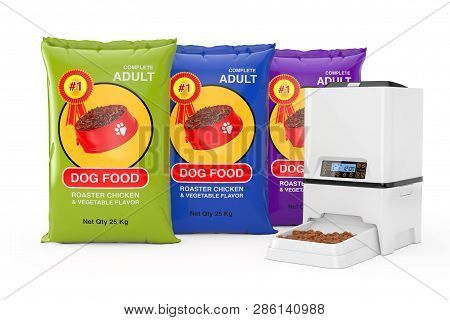 Dog Food Bag Packages Design Near Automatic Electronic Digital Pet Dry Food Storage Meal Feeder Disp