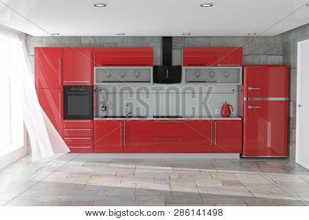 Modern Red Kitchen Furniture With Kitchenware Interior Extreme Closeup. 3d Rendering