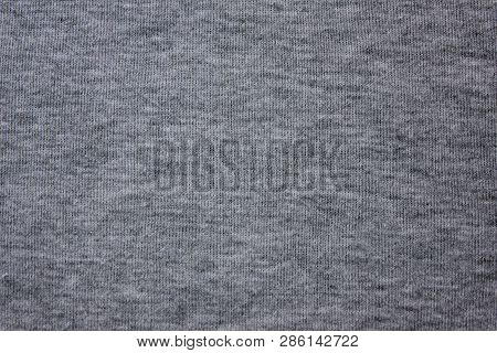 Dark Pale Gray Natural Fabric Texture Background. Grey Cloth Pattern Of Hoodie, Sweater, Pullover Or