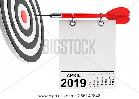 Calendar April 2019 On Blank Note Paper With Free Space For Your Text With Target. 3d Rendering