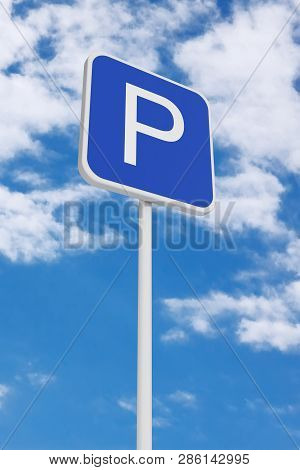 Parking Road Traffic Sign On A Blue Sky Background. 3d Rendering