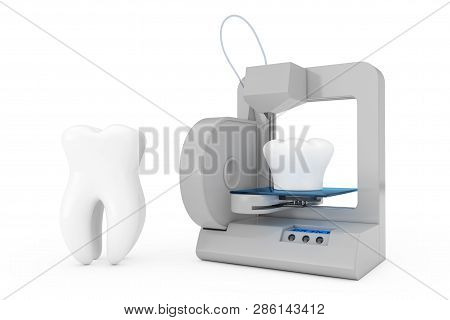 3d Printer Printing Tooth Implant On A White Background. 3d Rendering