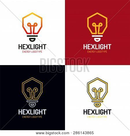 Idea Logo Design Vector. Bulb Symbol Hexagon Icon. Start Up Business And Innovation Concept Network.
