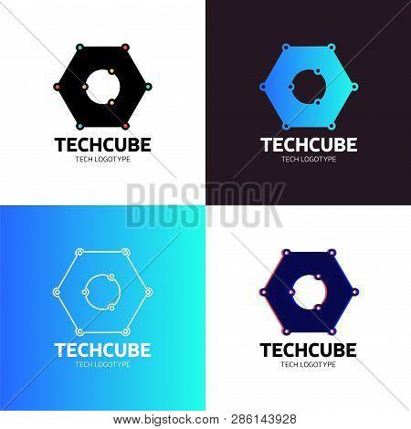 Blockchain Logo Template. Technology Vector Design. Cryptocurrency Hexagon Illustration
