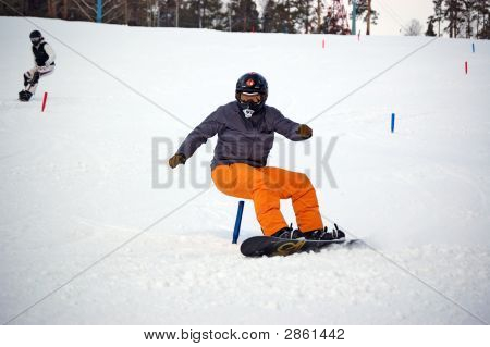 Snowboarder Slalom Moving