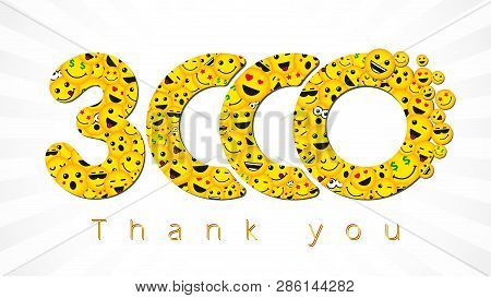 Thank You 3 000 Followers Logotype. Congratulating Bright 3.000 Networking Thanks, Net Friends Yello
