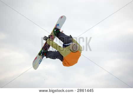Snowboarder Twist Jumping