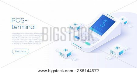 Internet Banking Concept In Isometric Vector Illustration. Digital Payment Or Online Money Transfer