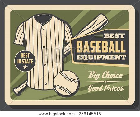 Baseball Player Outfit And Game Equipment Store Vintage Retro Poster. Vector Baseball Bat And Ball,