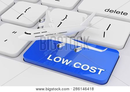 White Jet Passenger's Airplane Over Computer Keyboard With Low Cost Sign. 3D Rendering