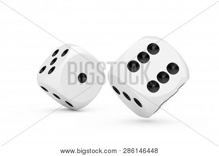 Casino Gambling Concept. White Game Dice Cubes In Flight On A White Background. 3d Rendering