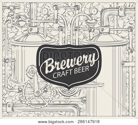 Vector Banner For Craft Beer And Brewery, With A Calligraphic Inscription On The Background Illustra