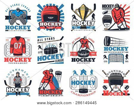 Ice Hockey Sport Club Or Championship Game Icons. Vector Symbols Of Ice Hockey Tournament Cup, Equip