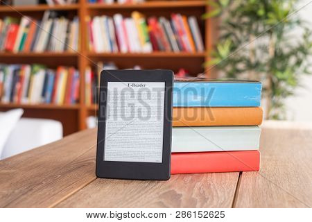 Ebook Isolated On Wooden Table At Home