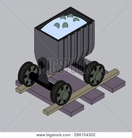 Minecart On Rails With Coins And Charcoal. Block Chain Crypto Currency Mining. Tunnel Underground Tr