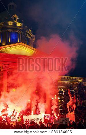 Belgrade, Serbia - February 23, 2019: Eleventh Protest Under The Name