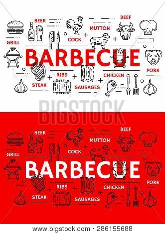 Barbecue Grill Meat Poster And Sausages Line Icons. Vector Bbq Restaurant, Steak House Or Bar Menu O