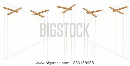 Wooden Marionette Control Bars. Five Items With Strings And No Puppets. Symbol For Manipulation, Con