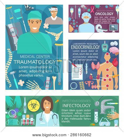 Oncology, traumatology medicine, infectology and endocrinology doctors. Vector endocrinologist, traumatologist, oncologist and infectologist medical diagnostic items and treatment pills poster
