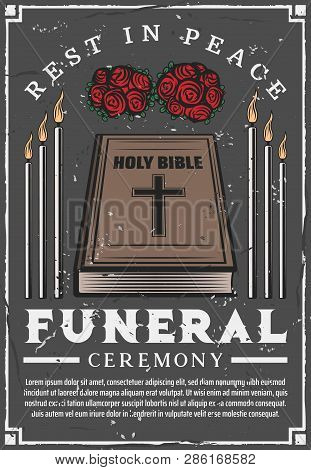 Funeral Service Agency Poster. Vector Mortuary And Burial Ceremony Church Candles, Bible And Memoria