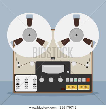 Old Bobbin Tape Recorder. Vintage Analog Reel Tape Recorder. Original Vintage Analog Reel Tape Recor