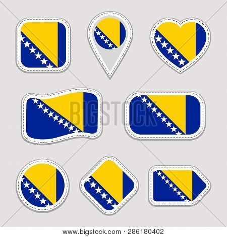 Bosnia And Herzegovina Flag Vector Set. Bosnian Flags Stickers Collection. Isolated Geometric Icons.