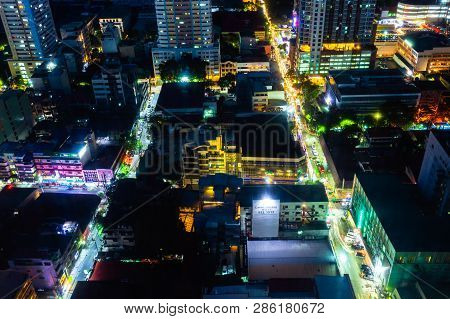 Manila, Philippines - November 11, 2018: Night View Of The Illuminated Streets Of The Malate Distric
