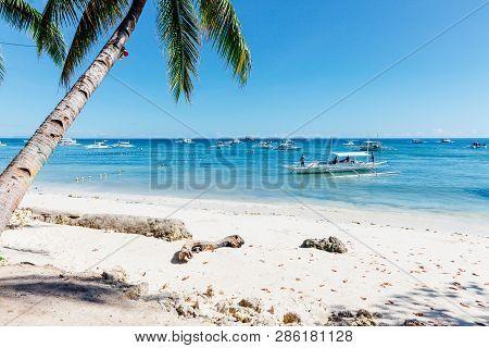 Idyllic Alona Beach With White Sand, Philippines