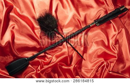 Bondage, Kinky Adult Sex Games, Kink And Bdsm Lifestyle Concept With A Whip, Feather Stick On Red Si