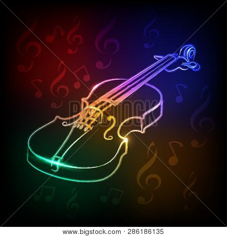 Neon Violin .musical Instrument - Vector Illustration .musical Drawing